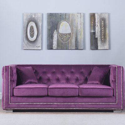 Rubio Modern Tufted Chesterfield Sofa Upholstery: Purple