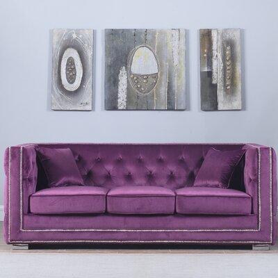 Rubio Modern Tufted Chesterfield Sofa Upholstery: Purple