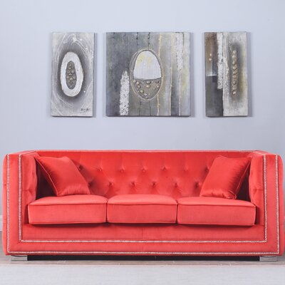 Rubio Modern Tufted Chesterfield Sofa Upholstery: Coral