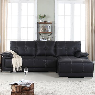 Auriga Classic Tufted Sectional Upholstery: Black