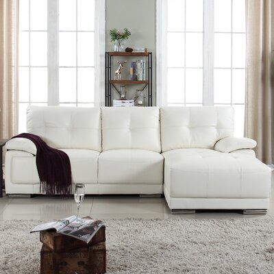 Auriga Classic Tufted Sectional Upholstery: White