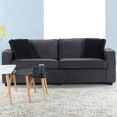 Arjun Modern Velvet Fabric Sofa Upholstery: Gray