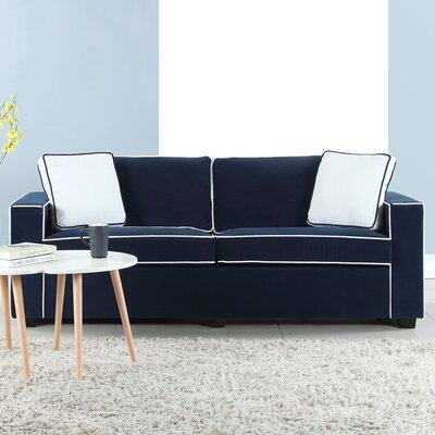 Arjun Modern Velvet Fabric Sofa Upholstery: Navy