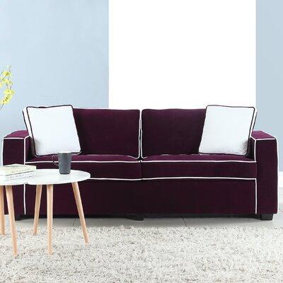 Arjun Modern Velvet Fabric Sofa Upholstery: Purple