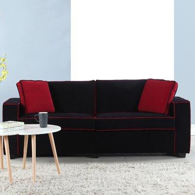 Arjun Modern Velvet Fabric Sofa Upholstery: Black