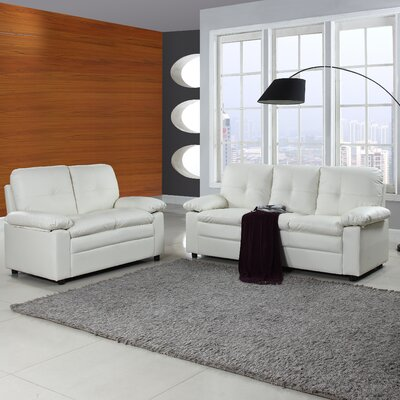 Brittanie Traditional 2 Piece Living Room Furniture Set Upholstery: White