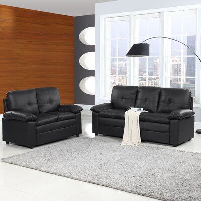 Brittanie 2 Piece Living Room Set Upholstery: Black