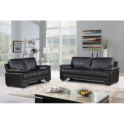 Alessandra Modern Faux Leather and Brush Microfiber Sofa and Loveseat Furniture Set Upholstery: Black