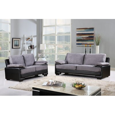 Alessandra Modern Faux Leather and Brush Microfiber Sofa and Loveseat Furniture Set Upholstery: Gray
