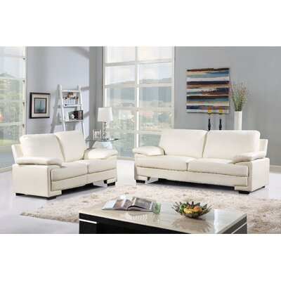 Alessandra Modern Faux Leather and Brush Microfiber Sofa and Loveseat Furniture Set Upholstery: White