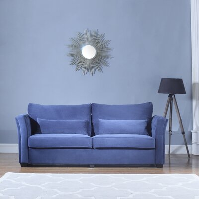 Alameda Traditional Velvet Fabric Sofa Upholstery: Navy