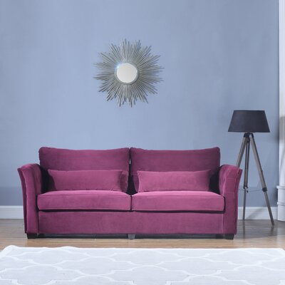 Alameda Traditional Velvet Fabric Sofa Upholstery: Purple