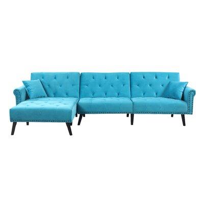 Salcombe Reversible Sleeper Sectional Upholstery: Blue