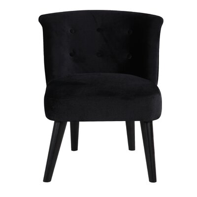 Crosier Plush Velvet Barrel Chair Upholstery: Black