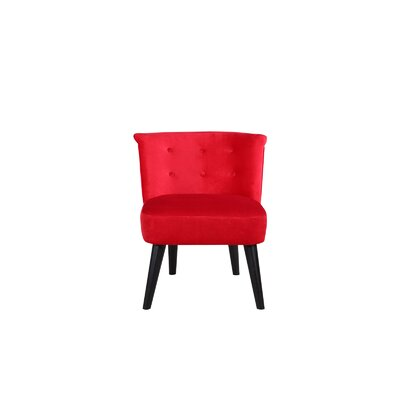 Crosier Plush Velvet Barrel Chair Upholstery: Red
