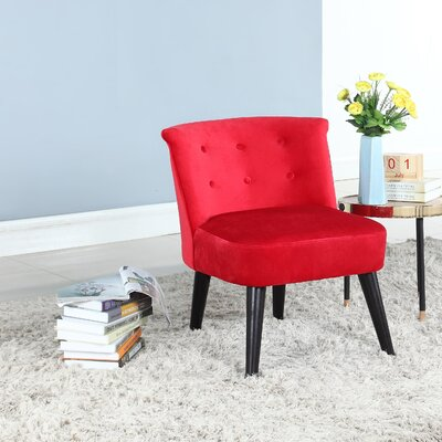 Crosier Plush Barrel Chair Upholstery: Red