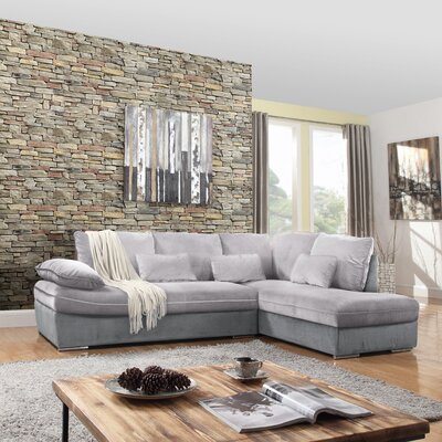Duanesburg Sectional Upholstery: Light Gray/Dark Gray