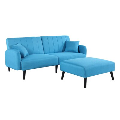 Ryegate Mid Century Convertible Sofa Upholstery: Sky Blue