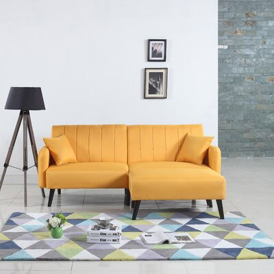 Ryegate Mid Century Convertible Sofa Upholstery: Yellow