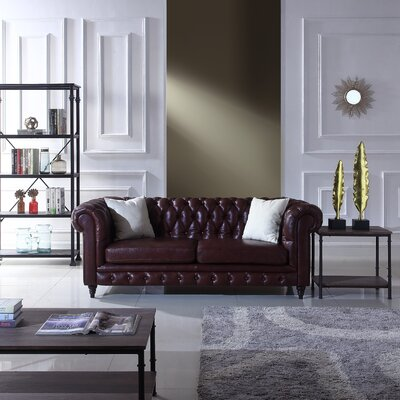 Lucy Leather Chesterfield Sofa Upholstery: Brown