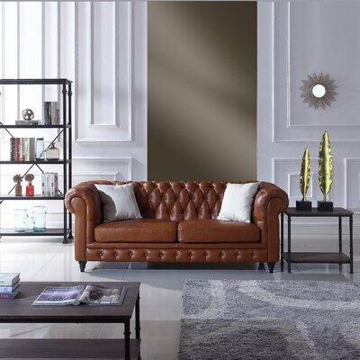 Lucy Leather Chesterfield Sofa Upholstery: Camel