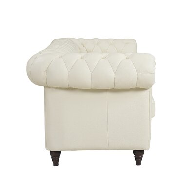 Lucy Leather Chesterfield Sofa Upholstery: Ivory
