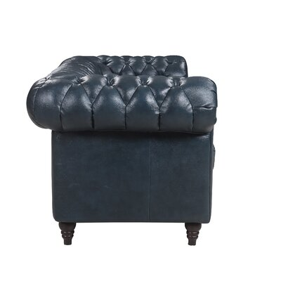 Lucy Leather Chesterfield Sofa Upholstery: Midnight Blue