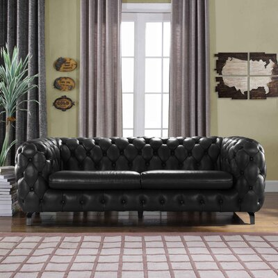 Yuliya Leather Chesterfield Sofa with Built-In Shelves Upholstery: Black