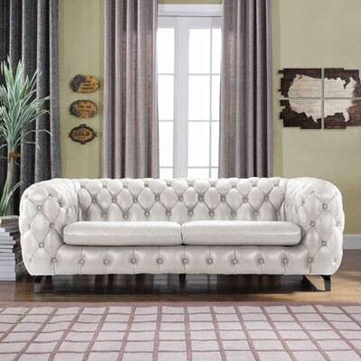 Yuliya Leather Chesterfield Sofa with Built-In Shelves Upholstery: Ivory