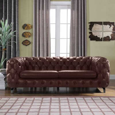 Yuliya Leather Chesterfield Sofa with Built-In Shelves Upholstery: Brown
