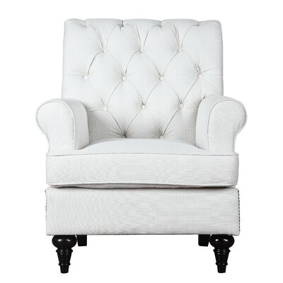 Hollain Traditional Solid Wood Armchair Upholstery: Ivory