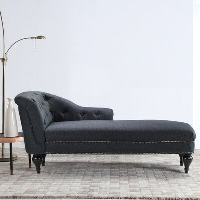Hollain Tufted Chaise Lounge Upholstery: Dark Gray