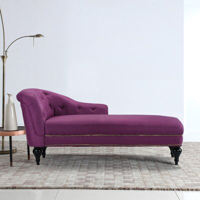 Hollain Tufted Chaise Lounge Upholstery: Rose Red