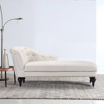 Hollain Tufted Chaise Lounge Upholstery: Beige