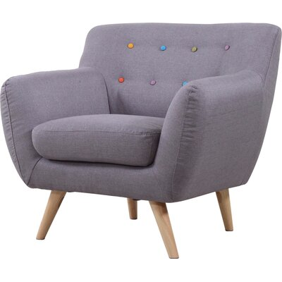 Mid-Century Modern Tufted Armchair Upholstery: Light Grey with Color Buttons