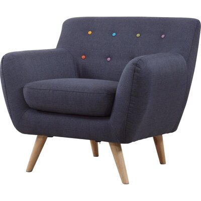 Mid-Century Modern Tufted Armchair Upholstery: Polo Blue with Color Buttons