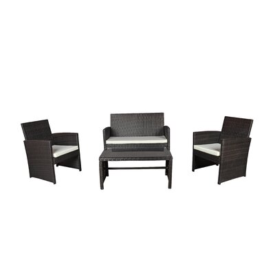 Madisonburg 4 Piece Bar Set with Cushions Color: Brown/Beige