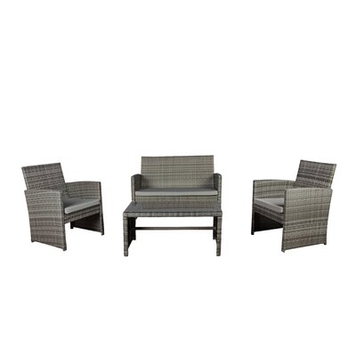 Madisonburg 4 Piece Bar Set with Cushions Color: Gray