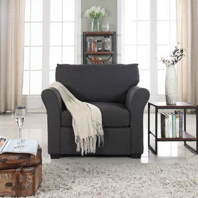 Oglesby Traditional Linen Fabric Armchair Upholstery: Dark Gray