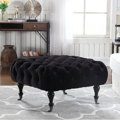 Chatsworth Tufted Footrest Ottoman Upholstery: Black