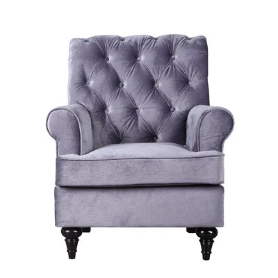 Chavers Classic Tufted Velvet Living Room Armchair Upholstery: Gray