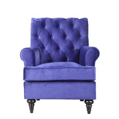 Chavers Classic Tufted Velvet Living Room Armchair Upholstery: Royal Blue