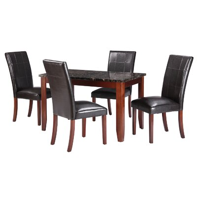 Jalen Traditional 5 Piece Dining Set Table Color : Black