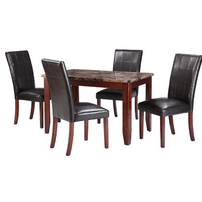 Jalen Traditional 5 Piece Dining Set Table Color : Bronze
