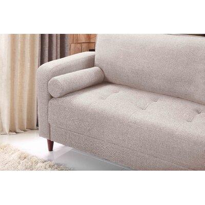 Mid-Century Modern Linen Fabric Living Room Sofa Upholstery: Beige