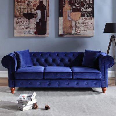 Sanders Chesterfield Sofa Upholstery: Navy