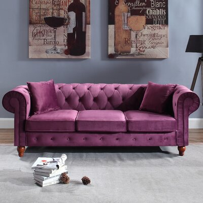 Sanders Chesterfield Sofa Upholstery: Purple