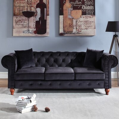 Sanders Chesterfield Sofa Upholstery: Black