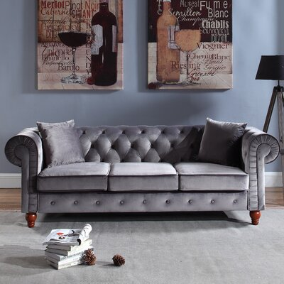 Sanders Chesterfield Sofa Upholstery: Gray