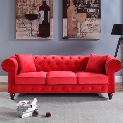 Sanders Chesterfield Sofa Upholstery: Red